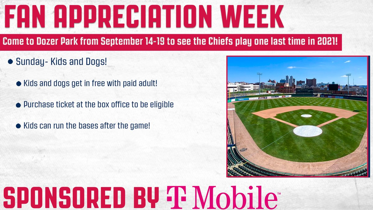 For the final day of our Fan Appreciation Week sponsored by @TMobile, all kids and dogs get in free with a paid adult! Grab your ticket at our box office today!  #SoundTheAlarm x @TMobile