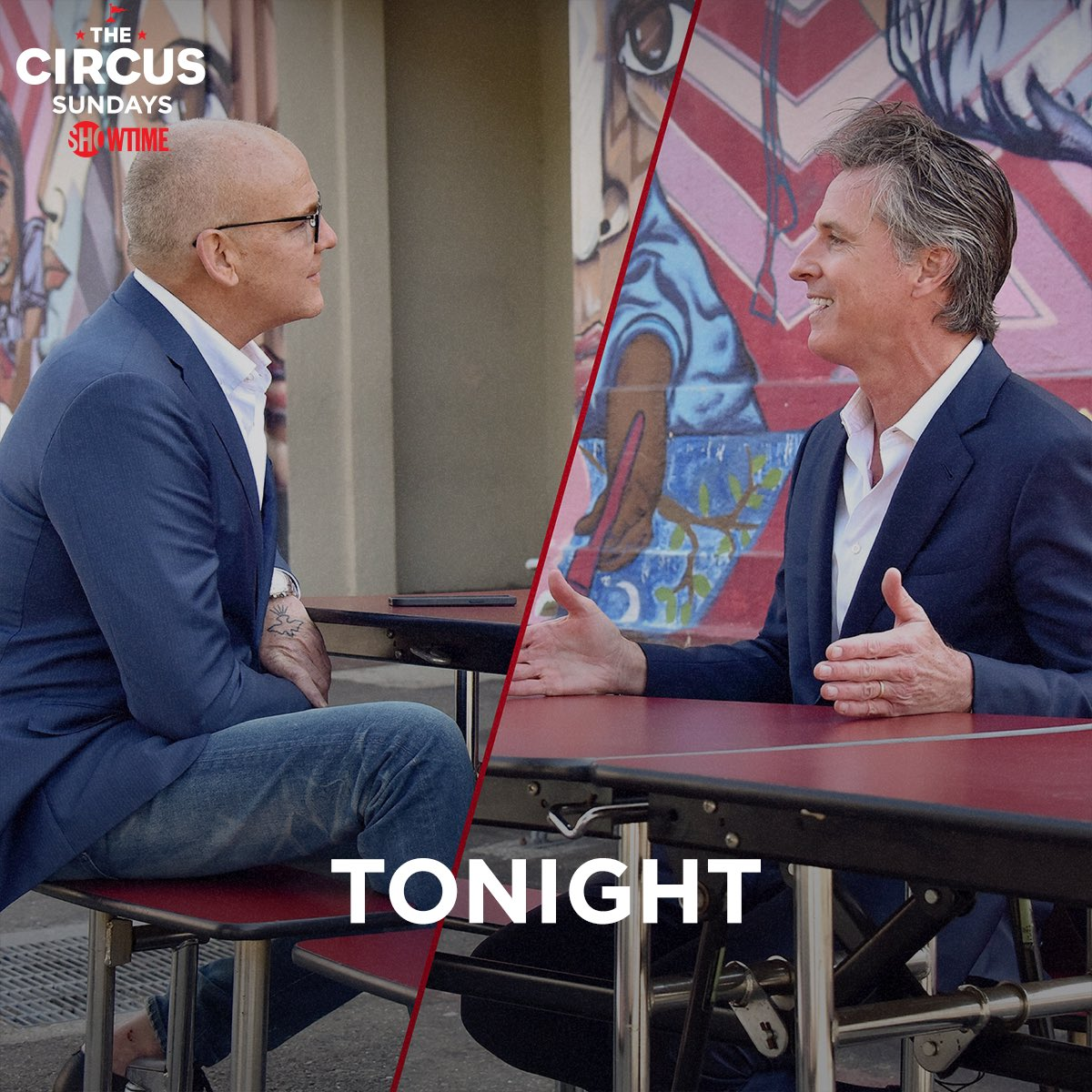 Less than 30 minutes until an all-new episode of @SHO_TheCircus!!! Tune in at 8pm ET/PT to see me and @GavinNewsom + ringmasters @alexwagner, @mmckinnon, and @jmpalmieri kick off the second half of Season 6 … only on @showtime.