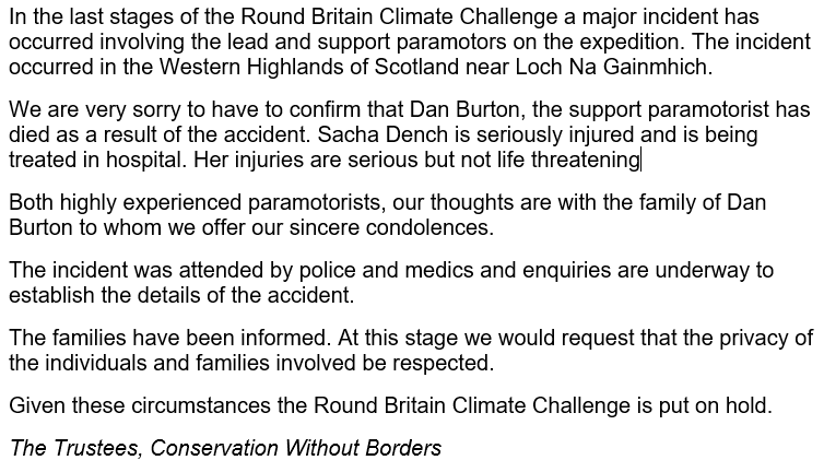 We're so sorry to hear this tragic news. We were lucky enough to spend time with Dan Burton when the team visited Falkirk. He will be a great loss. Our thoughts are with everyone on the Round Britain Climate Challenge team and we wish Sacha Dench a speedy recovery.
