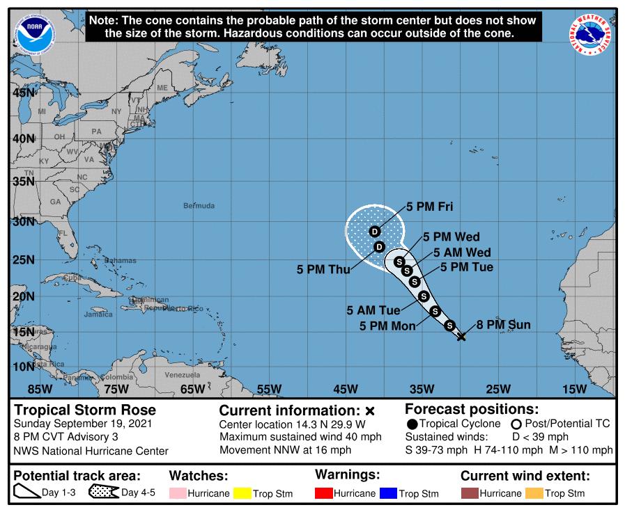 Après Peter ce matin c'est la tempête tropicale #Rose qui est née ce soir dans l'Atlantique, le 17ème système nommé cette saison.