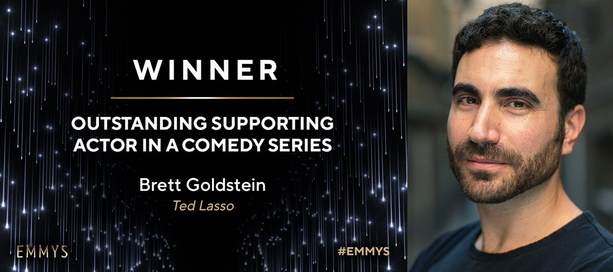Roy Kent can finally crack a smile tonight! Congrats to @BrettGoldstein, who wins the #Emmy for Outstanding Supporting Actor In A Comedy Series for @TedLasso (@AppleTV)! ⚽️ #Emmys #Emmys2021