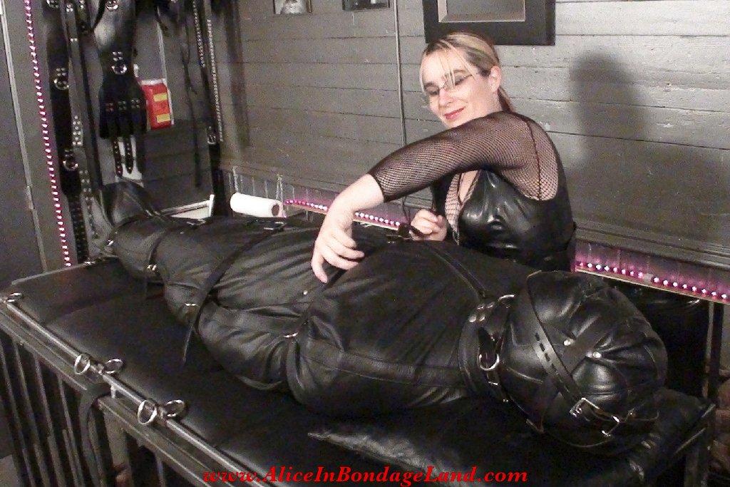 Bondage-enforced nap time in a leather sleepsack! Pleasant dreams...