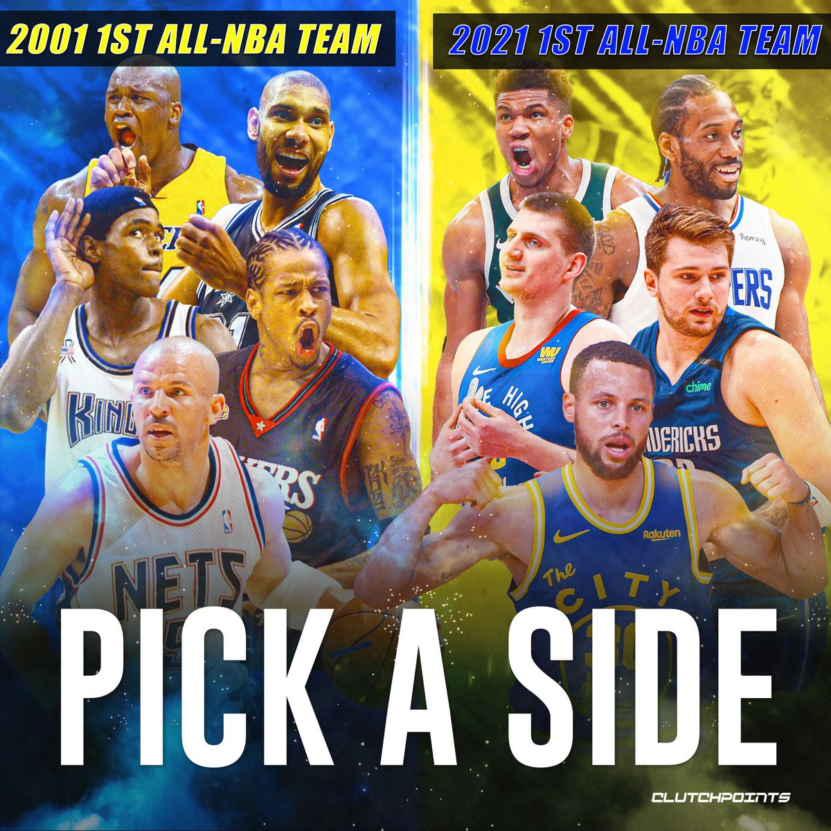 Two NBA top fives, 20 years apart. Who you got? 🔥 👉 2001: Jason Kidd, Allen Iverson, Chris Webber, Tim Duncan, Shaquille O'Neal 👉 2021: Stephen Curry, Luka Doncic, Kawhi Leonard, Giannis Antetokounmpo, Nikola Jokic