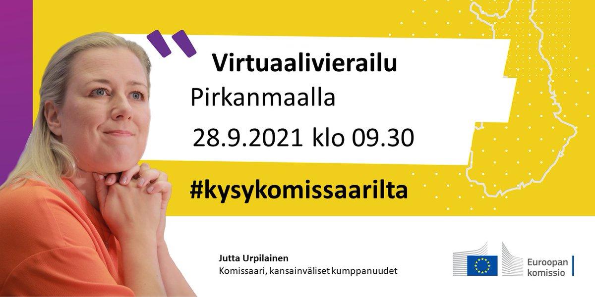 Jutta Urpilainen tekee Pirkanmaalle virtuaalivierailun 28.9.! Tilaisuuteen voi osallistua ilmoittautumatta.  @Tamperekaupunki @k2tre @Tre_Maria @TampereUni @en_tampere @pirkanmaanpiiri @TRENUVA @nuortentampere @EDhamejapmaa