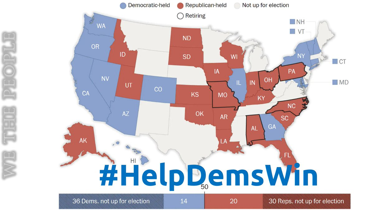 34 Senate seats are up for election next year, 5 have retiring Republicans  A filibuster-proof majority is within reach, just keep ours & flip 10 or more others!  Commit to 365 days of work to #HelpDemsWin  #wtpBLUE @wtpBLUE #wtp1011 https://t.co/EHyPPNPkXW