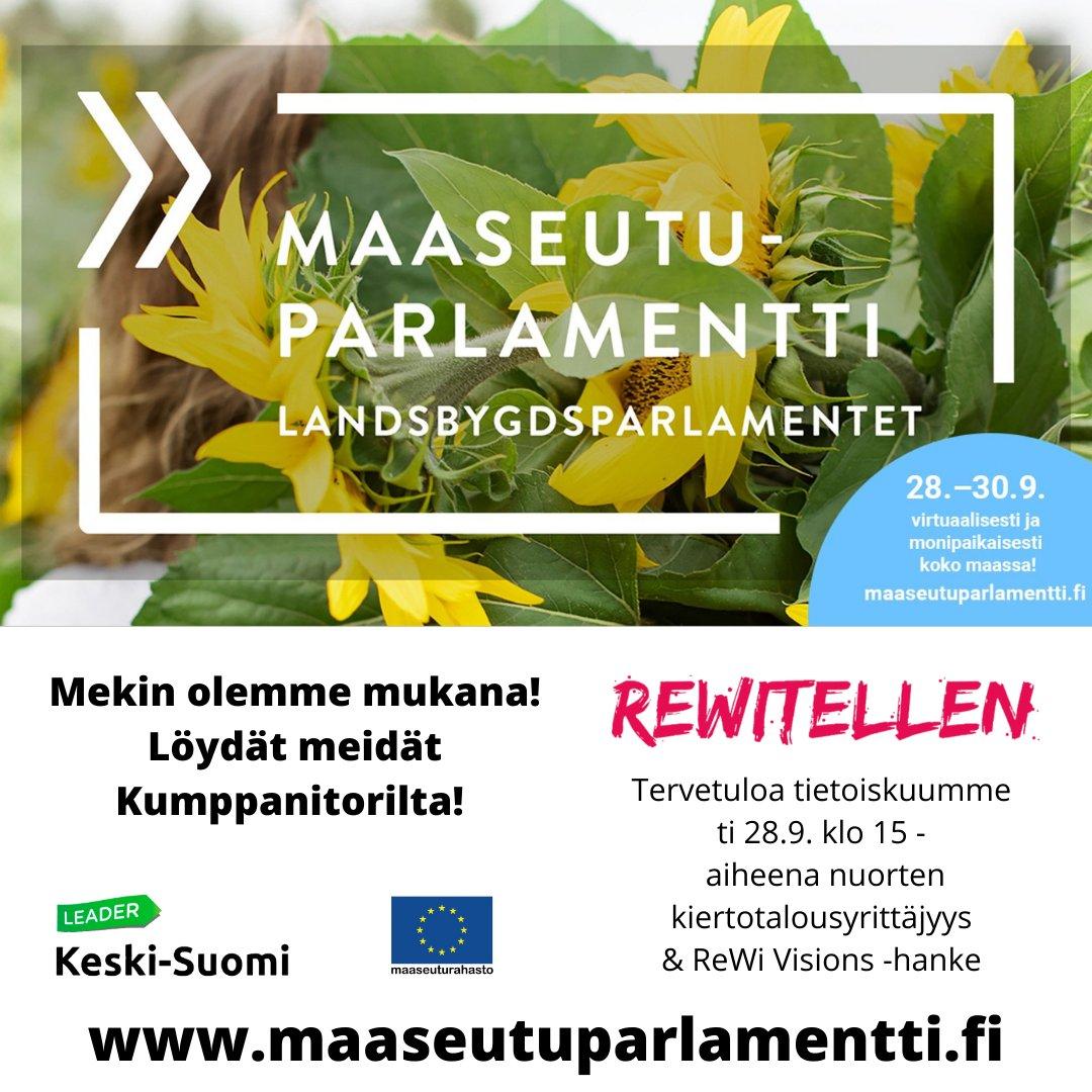 Mekin olemme maaseutuparlamentissa! Tervetuloa tietoiskuumme ti 28.9. klo 15! Aiheena #nuoret #kiertotalous #yrittäjyys #maapuhuu