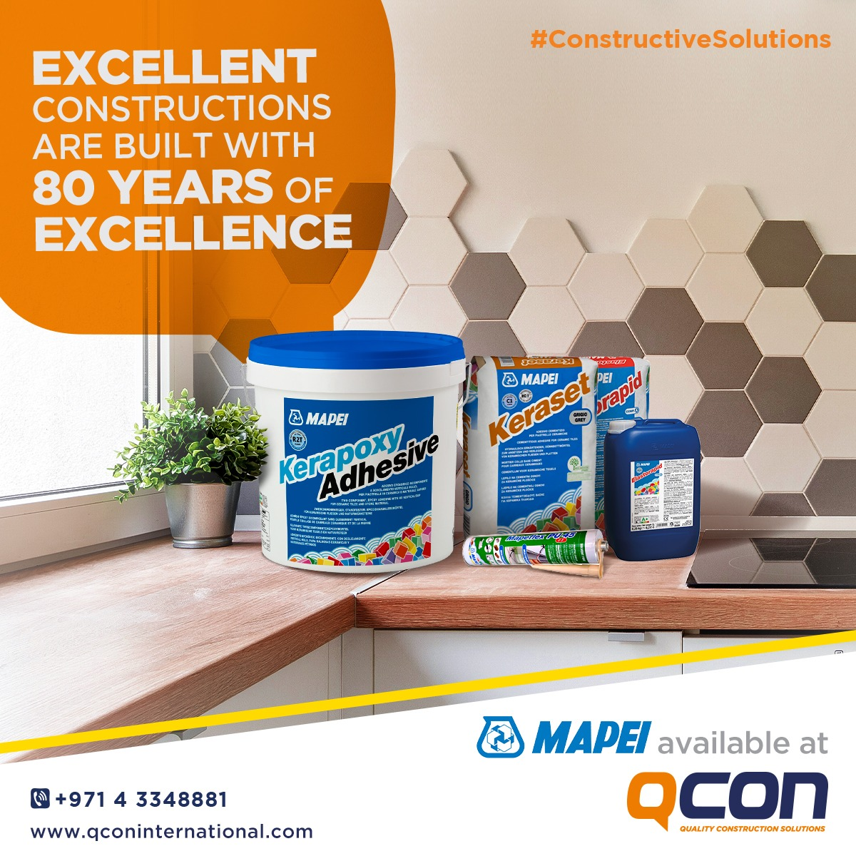 With 80 years of experience in the field of adhesives, sealants and other chemical products, MAPEI is one of the most renowned names of the construction industry. We've made sure that some of the Italian brand's top products are available to you at your fingertips.  #qcon