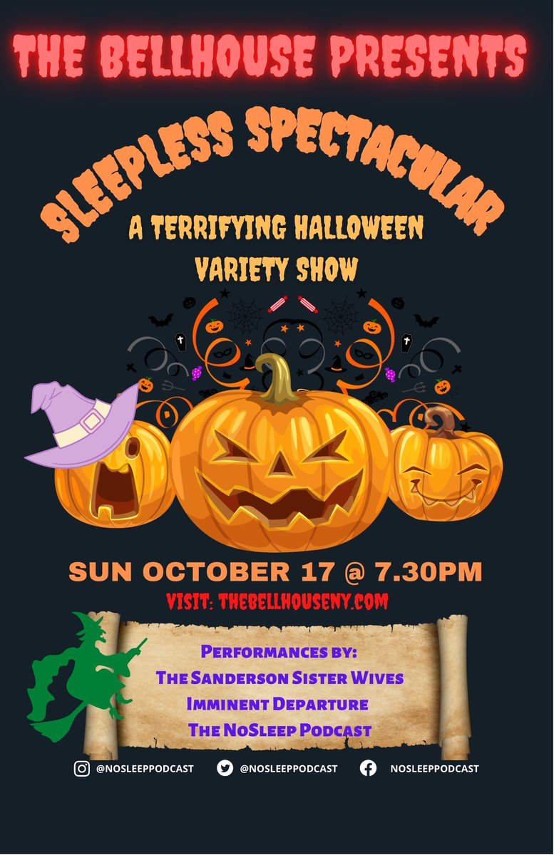 #TuesdayVibes   Come join the NoSleep Podcast at the @BellHouseNY in Brooklyn for a one night only Live Halloween Sleepless Spectacular!   See the link below for event information!   https://t.co/8tKpE7uFSb  Can't wait to scare you all there. Stay sleepless  #liveshow #horror