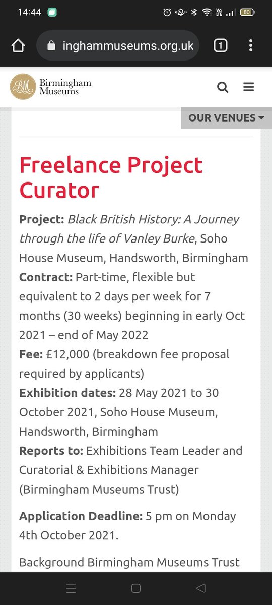 Please share the details of this call for a curator of Vanley Burke's exhibition at Soho House far and wide! It's going to be amazing 🎉🎉 birminghammuseums.org.uk/about/careers/…