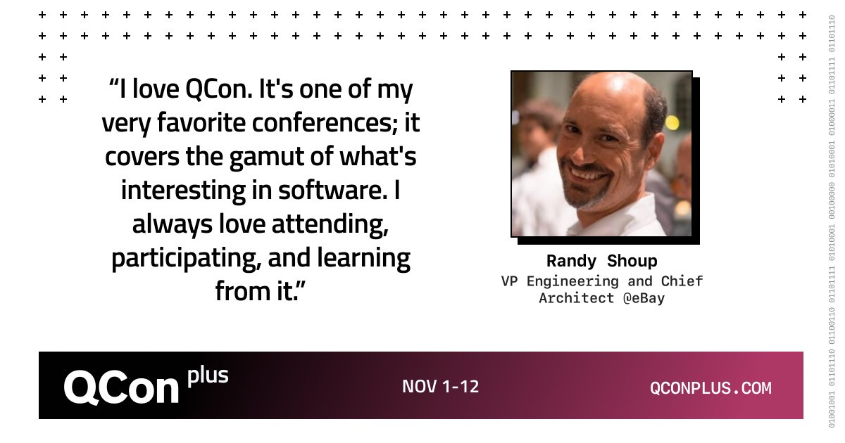 I've actually been involved with QCon for 14 years. I've been a speaker, then track host and I've been on the program committee for a couple of years on several different QCons. @randyshoup  Join Randy at #QConPlus this November: bit.ly/2FS7m7x  #Software #Development