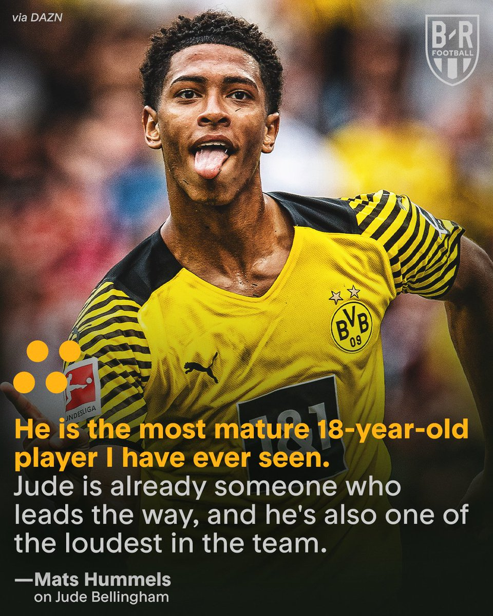 RT @brfootball: Mats Hummels says 18-year-old Jude Bellingham is already a leader ✨ https://t.co/wEi4tRvtDf