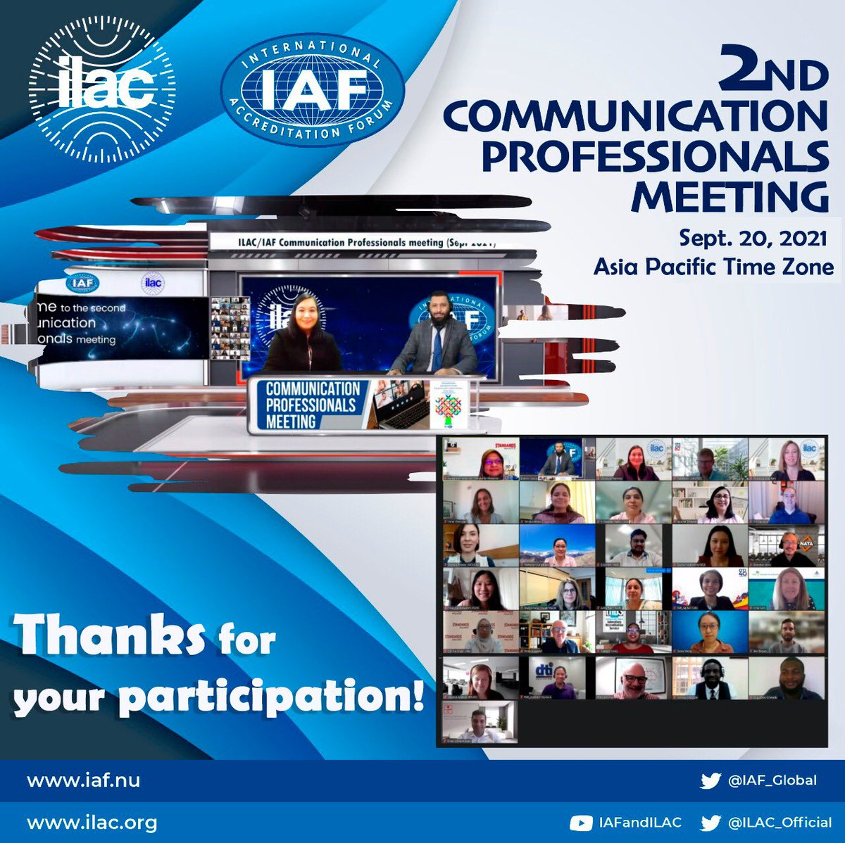 IAF and @ILAC_Official are holding several communications professionals meetings this week for two different time zones, discussing communication strategies and #WAD2022.