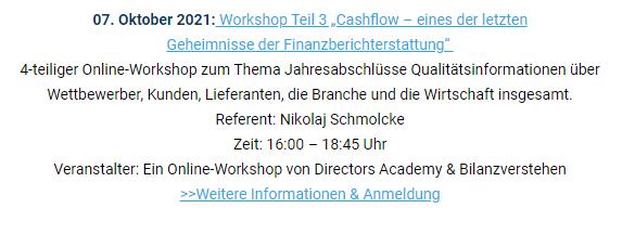 """Unsere Veranstaltungsempfehlung: 07. Oktober 2021Workshop """"Cashflow – eines der letzten Gehe...."""