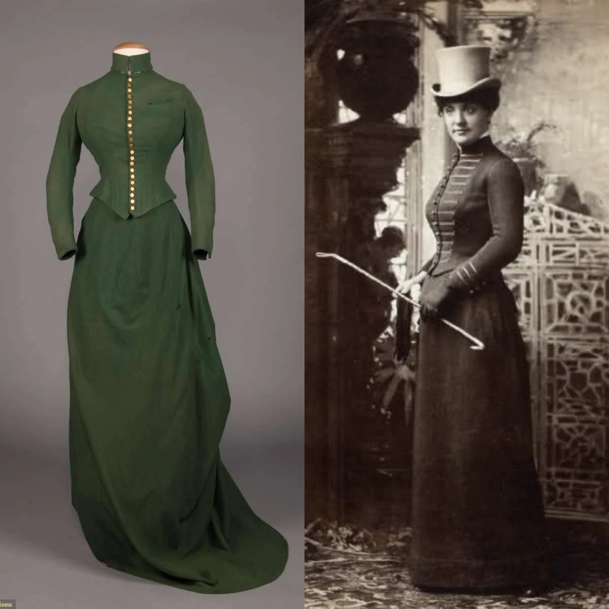 #Ridinghabits owe much to great engineering, a garment that was tailored to closely fit the body but also accommodate the contemporary imperative to ride side saddle. I don't know who the subject of this #1880s photo is but I hope she is in the same green as this @AugustaAuction