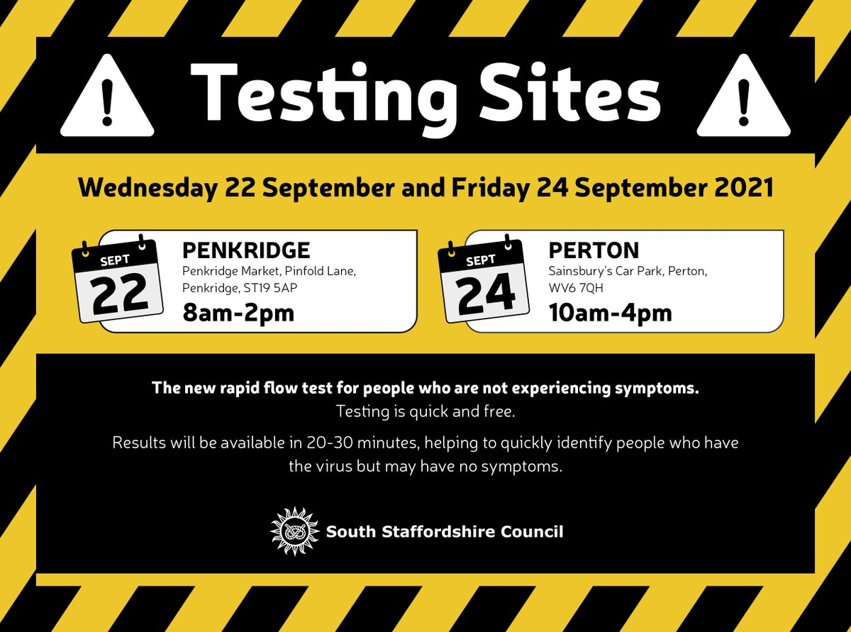 Testing helps residents to stop the spread of coronavirus. Testing for residents without symptoms is available at various locations across South Staffordshire this week. Its quick, free and your results will be available within 20-30 minutes. #covid19 #HandsFaceSpace #GetTested