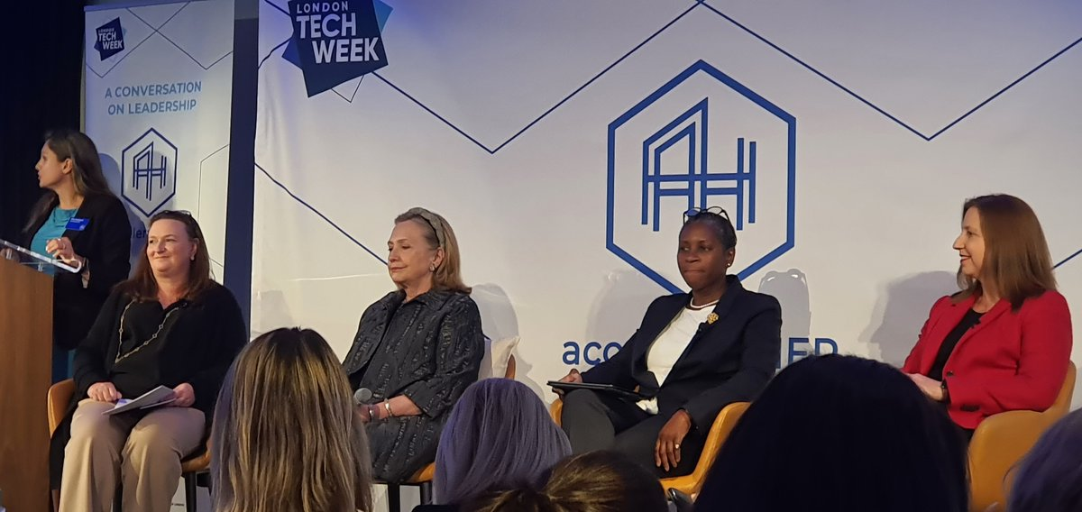 There are panels and then there is this one!!!  Hello @HillaryClinton in the house! @accelerate_HER @LDNTechWeek @BeDifrent 😉
