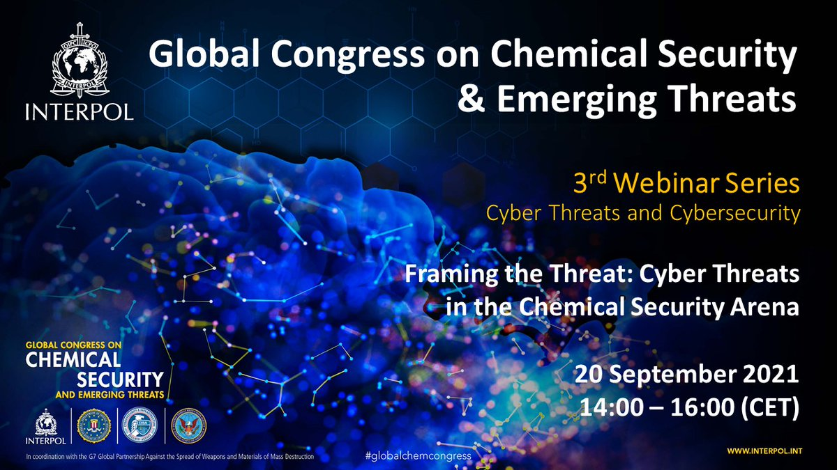 Spotlight on #cybersecurity in the global chemical industry at the 3rd #GlobalChemCongress #webinarseries. Core topic: link between chemical security & cybersecurity, including #cyberthreats to facilities around the 🌎. @CISAgov @doddtra @FBI @GPWMDofficial