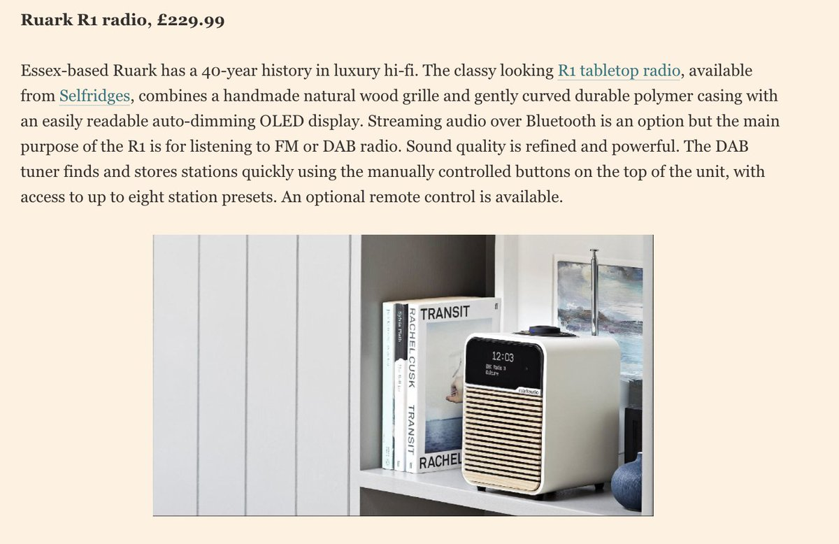 Over the weekend, the beautiful @BangOlufsen Beovision Contour TV and @ruarkaudio R1 radio were spotted in @ftproperty's latest piece on 'the best home tech that works without an app'. A huge thank you to @AdrianJustins for the marvellous feature: propertylistings.ft.com/propertynews/n…