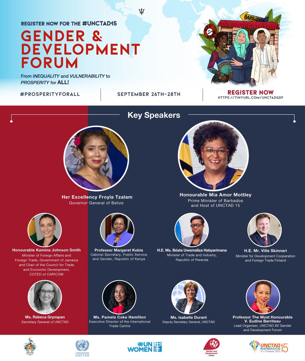 Register now for the UNCTAD15 Gender and Development Forum. From INEQUALITY and VULNERABILITY to PROSPERITY for ALL! September 26th - 28th    #prosperityforall #UNTAD15