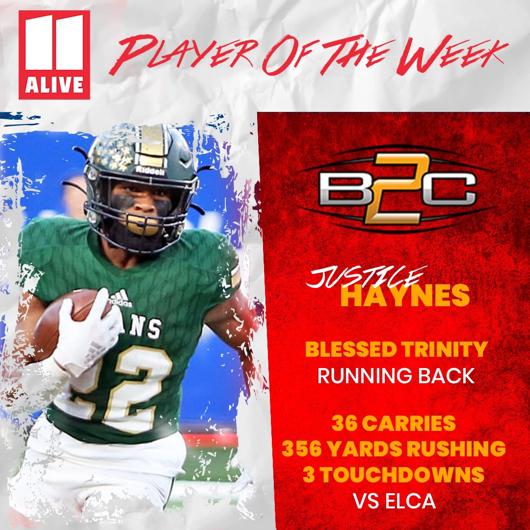 Congrats to Justice Haynes for being named @11AliveSports Player of the Week  356 Yards Rushing  3 TD's @justicehaynes6