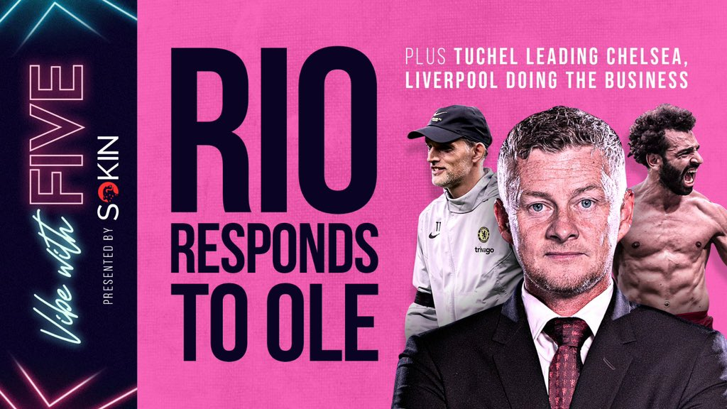 We are LIVE people… it's #VibeWithFive!   🔸 Responding to Ole comments 🔹 Tuchel has got #CFC looking 🔥 🔸 Will Mo Salah stay at #LFC   As always big thanks to @SokinGlobal   🔗 https://t.co/wJxMhbpF6g https://t.co/Ncsh41MDYg