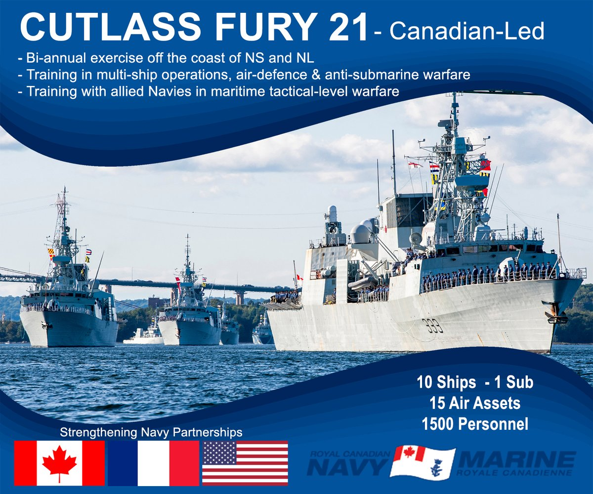 #CUTLASSFURY21 wraps-up. 10 days at sea, 1500 personnel, three nations 🇨🇦🇺🇸🇫🇷.  Training in joint maritime environment enhances cooperation and interoperability with our allies and contributes to operational readiness and ability to respond to any crisis.  #BravoZulu #WeAreNATO