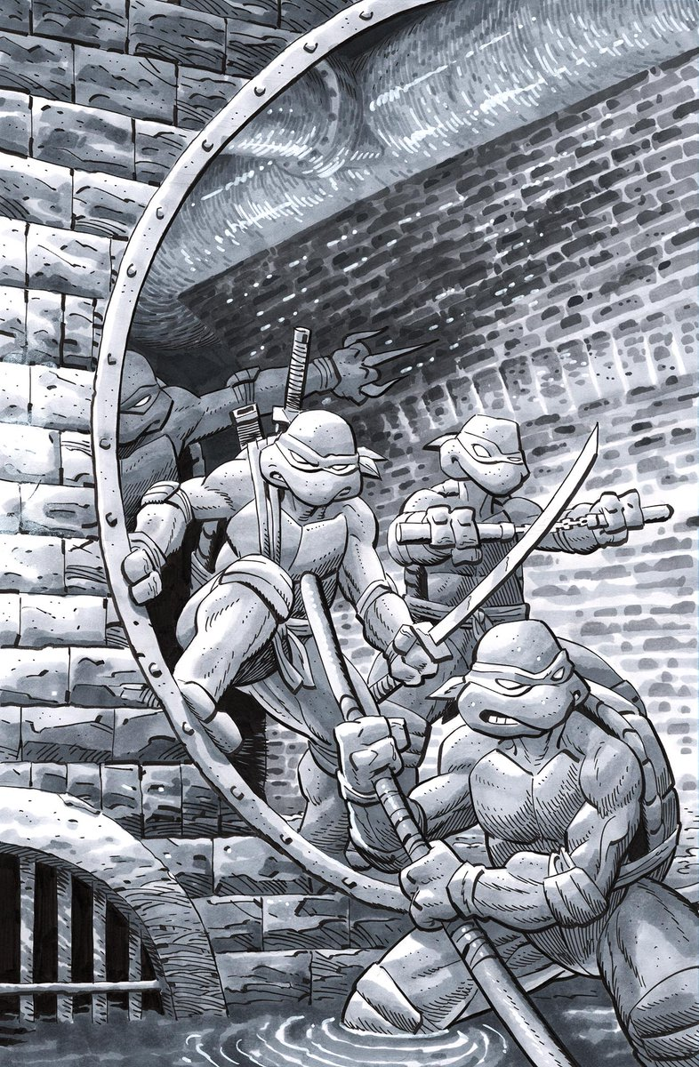 My variant for TMNT #124 from @IDWPublishing is in this month's PREVIEWS, on sale in Dec! I wanted to pay homage to the OG designs. I did the original in graytones, so coloring over that gave it a more gritty feel. The original is available. If you're interested, send me a DM