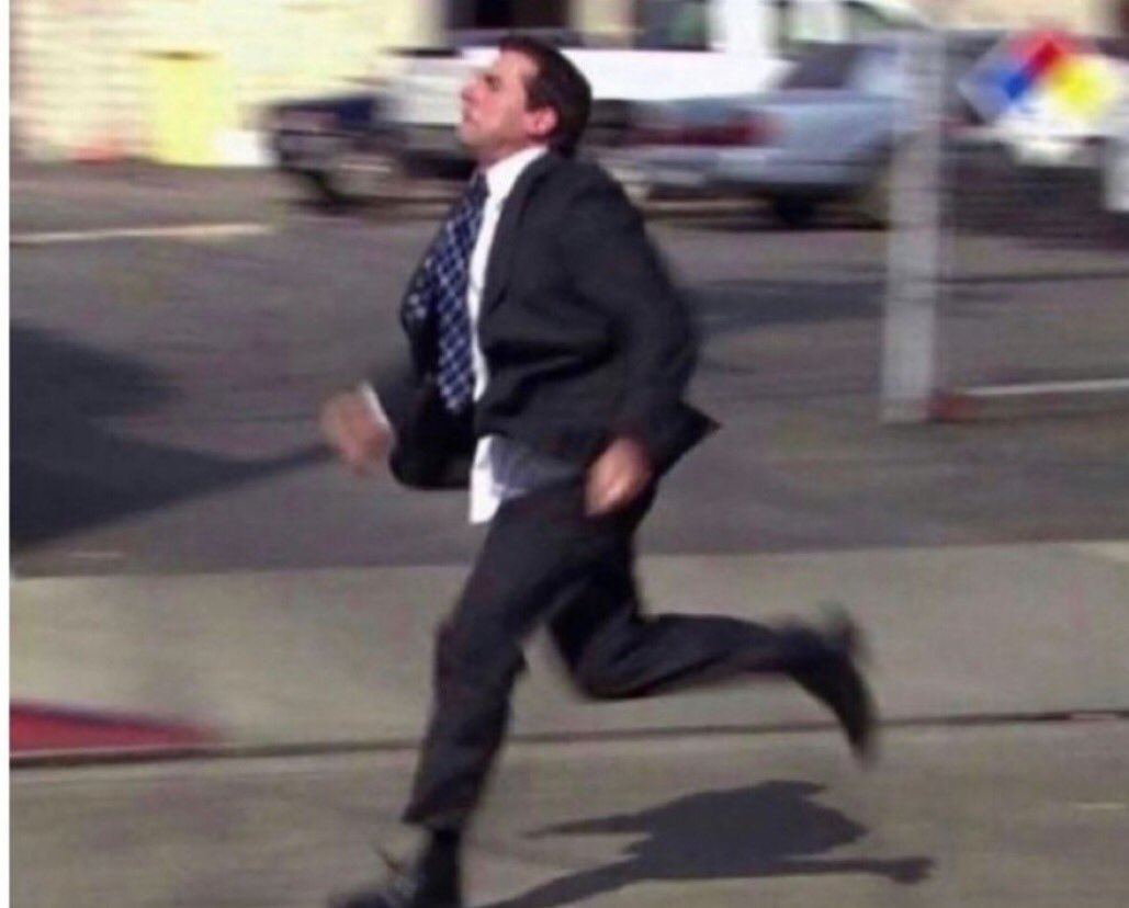 me leaving the house at 08:10 hoping i make it to work by 08:00
