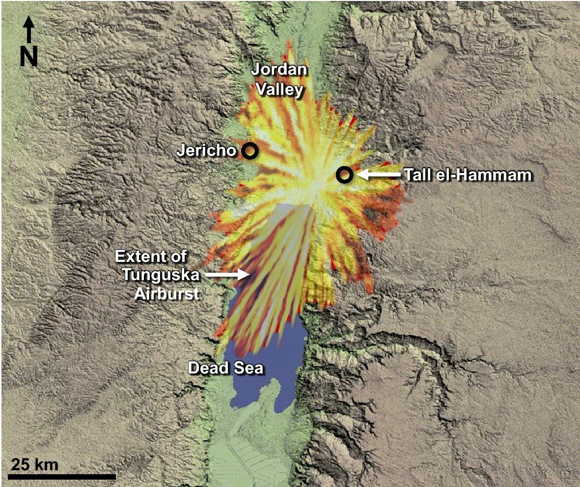 約3600年前に死海付近の上空で隕石が爆発し、熱風で都市が滅びたという Scientific Reports 誌の最新の論文  著者の Ted E. Bunch 氏らが地学と考古学の調査を行い、1908年のロシアのツングースカ大爆発と同様と結論。聖書に天からの火で滅びたと記されたソドムに対応と推定。