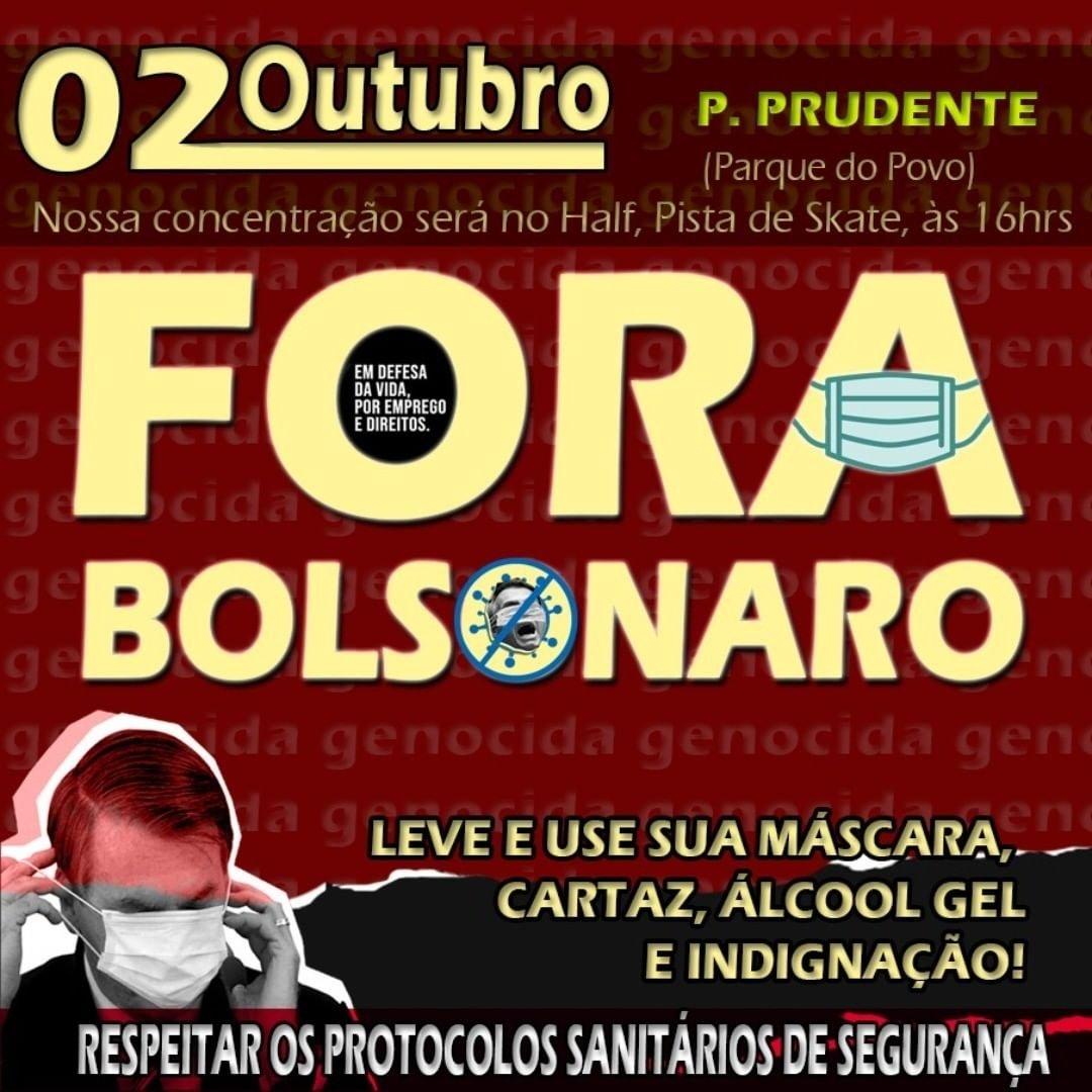 Bora? 02/10 em Presidente Prudente #ForaBolsonaro https://t.co/zHTxu34Txo