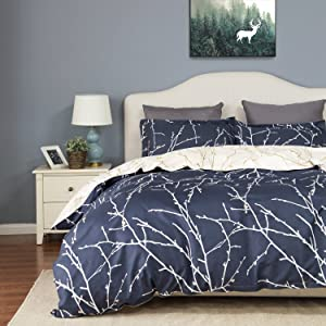 Bedsure Printed Duvet Cover Set Full/Queen Size Navy/Beige $29.99  at