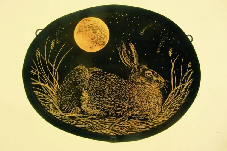 Harvest Moon (Golden Hare) by Tamsin Abbott, English stained glass artist. #HarvestMoon is the full moon closest to the autumn equinox. The Celts would use the Harvest Moon to mark the time before Samhain and considered it a blessing #womensart