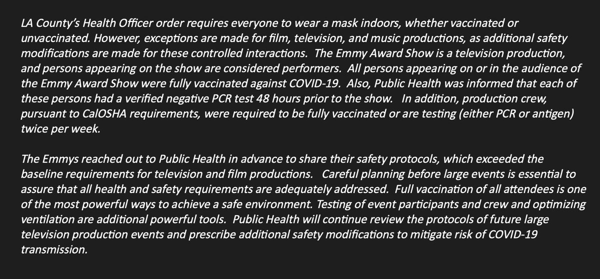 """New: LA County Department of Public Health tells me that the mask-less Emmys were not in violation of the county's mask mandate because 'exceptions are made for film, television, and music productions"""" since """"additional safety modifications"""" are made for such events."""