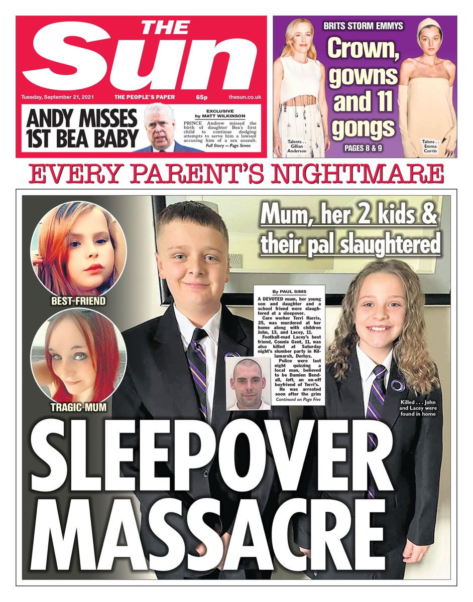 THE SUN: Sleepover Massacre #TomorrowsPapersToday