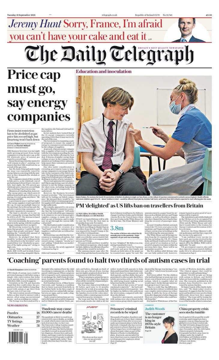 TELEGRAPH: Price cap must go, say energy companies #TomorrowsPapersToday
