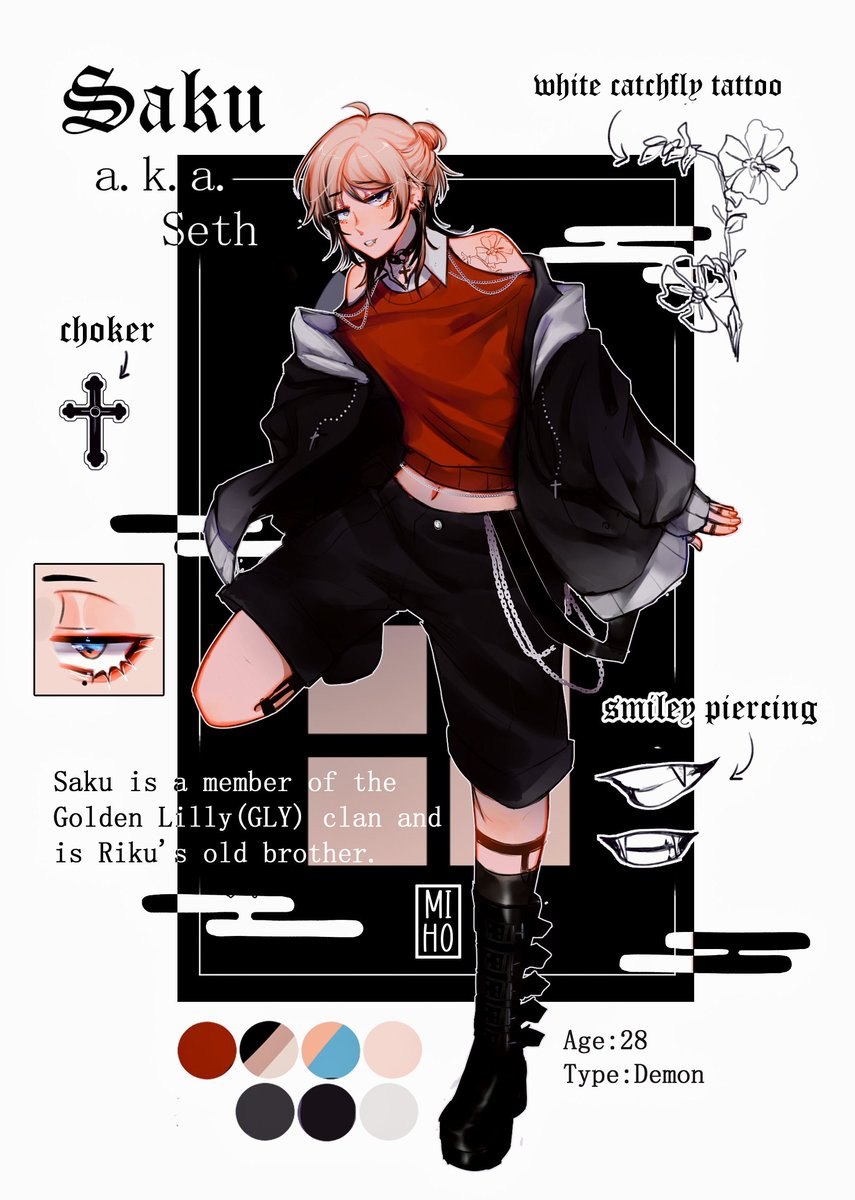 """MEET MY NEW OC!!! Saku!!! Saku is a demon who's a member of the Golden Lilly clan. He has a bodyguard called Nomi (I'm drawing him rn 😳). His tattoo means """"betrayed"""" in hanakotoba. Rt pls 😳"""
