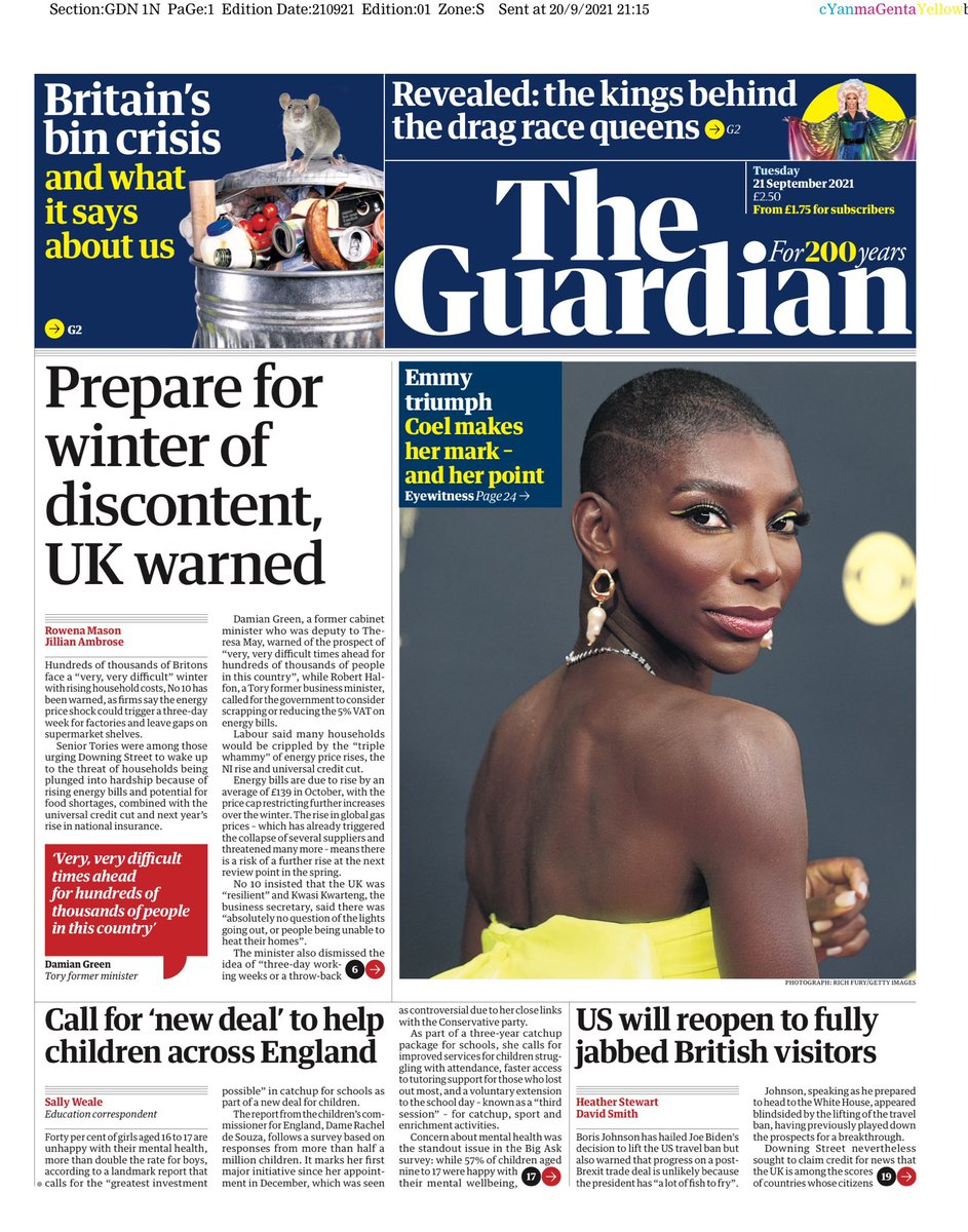 GUARDIAN: Prepare for winter of discontent, UK warned #TomorrowsPapersToday