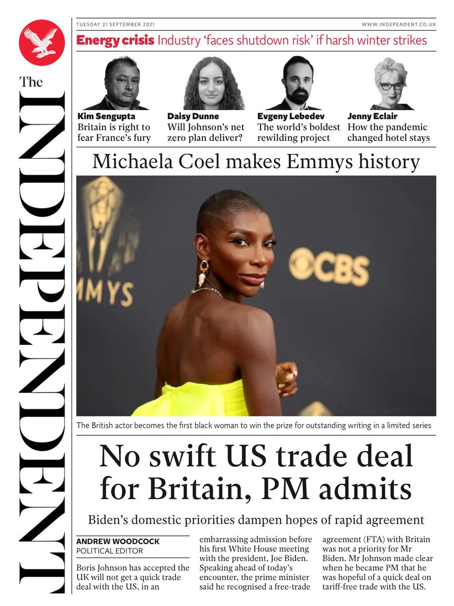 INDEPENDENT DIGITAL: No swift US trade deal for Britain, PM admits #TomorrowsPapersToday