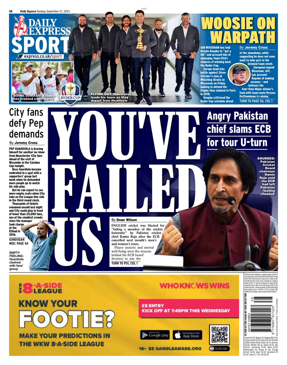 EXPRESS SPORT: You've failed us #TomorrowsPapersToday