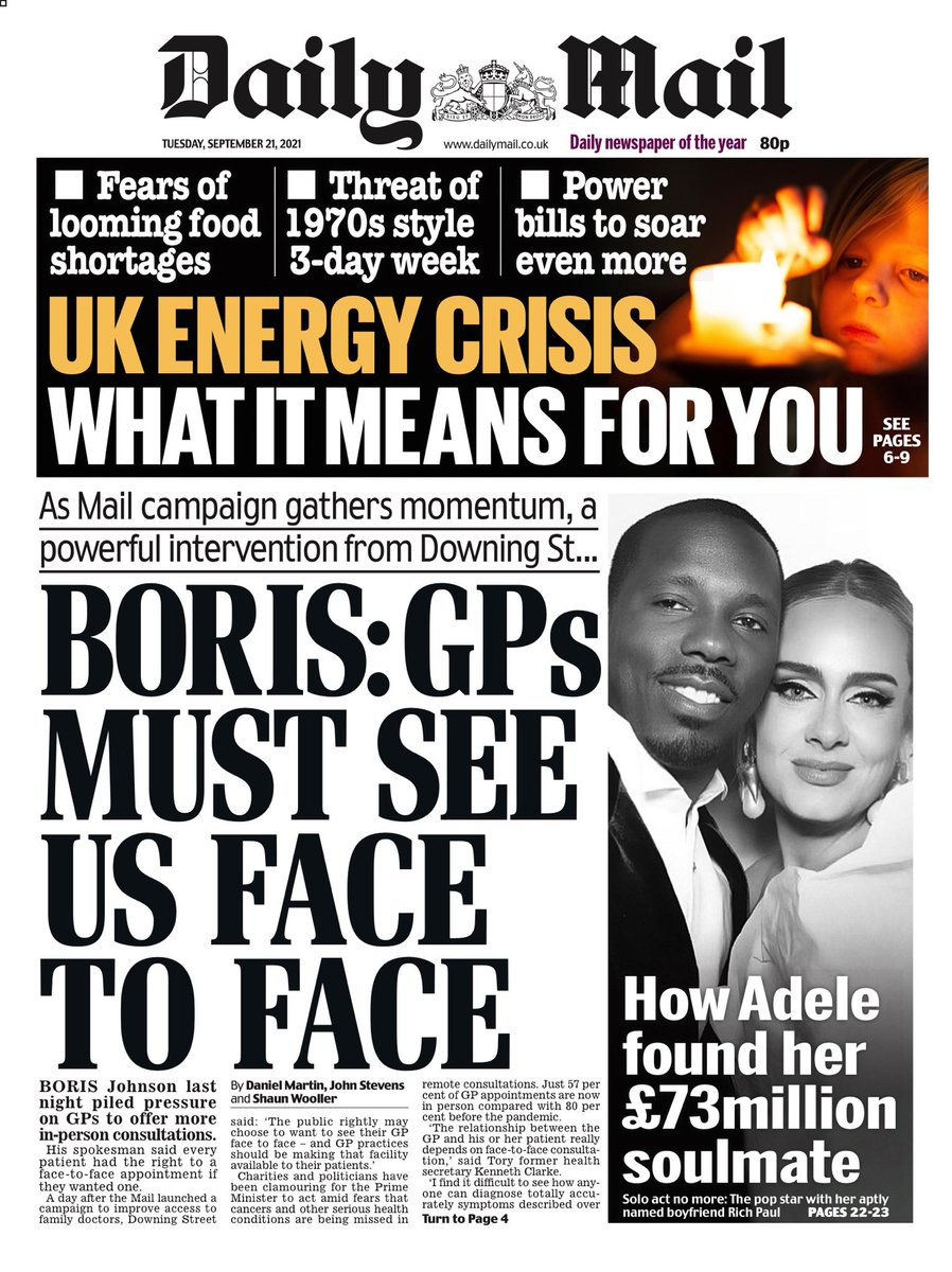 MAIL: Boris: GPs must see us face to face #TomorrowsPapersToday
