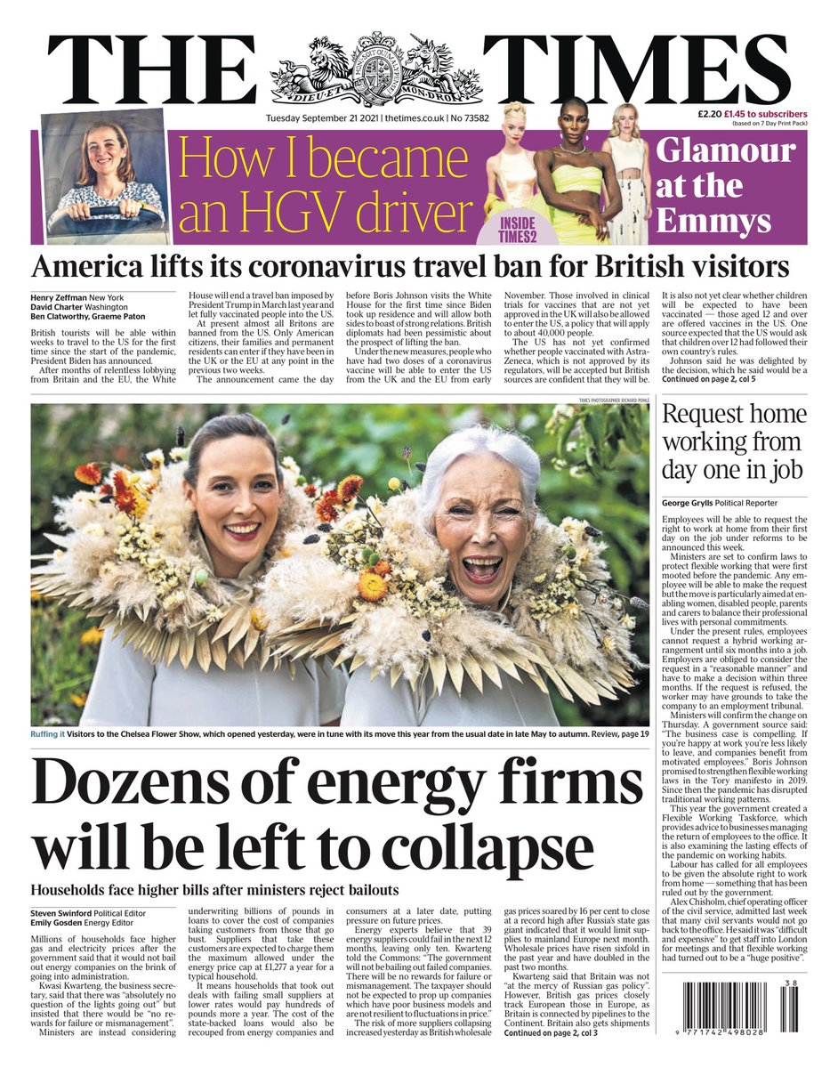 THE TIMES: Dozens of energy firms will be left to collapse #TomorrowsPapersToday