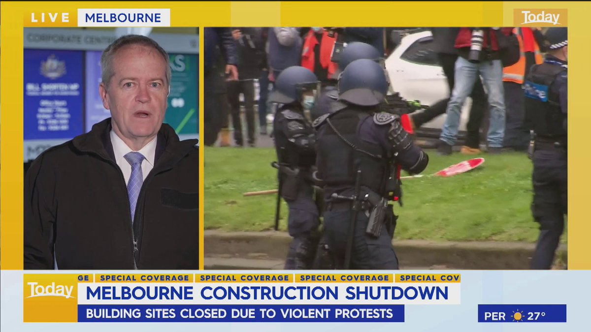 """""""There is a network of hard-right man-baby Nazis, people who just want to cause trouble.""""  Bill Shorten claims there were some construction workers participating in Melbourne's protest yesterday however there were a """"lot of other professional troublemakers."""" #9Today"""