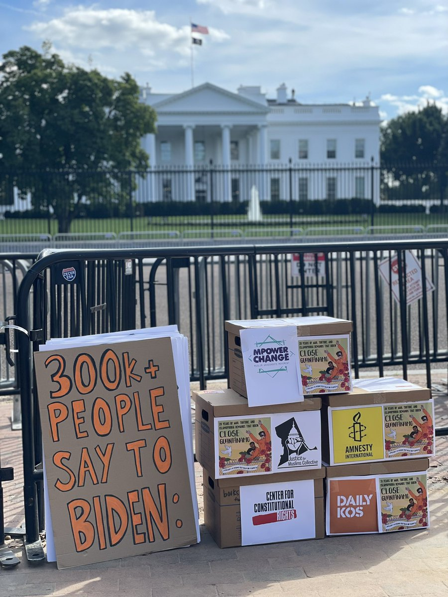 """Today, for the 20th anniv of the US' """"War on Terror,"""" @Amnesty/@AmnestyUSA & @theCCR & @dailykos & @dcmuslimjustice & @MPower_Change delivered 335,000 signatures on a petition to @POTUS @JoeBiden calling on him to #CloseGuantanamo immediately. Will he listen?"""