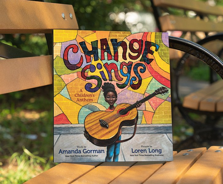 Happy #BookBirthday to CHANGE SINGS by @TheAmandaGorman!   'In rich language and vivid art, this hopeful celebration of the life-affirming power of change to ripple out into a better future is irresistible...One to keep, to read, and to reread.'--Kirkus Reviews