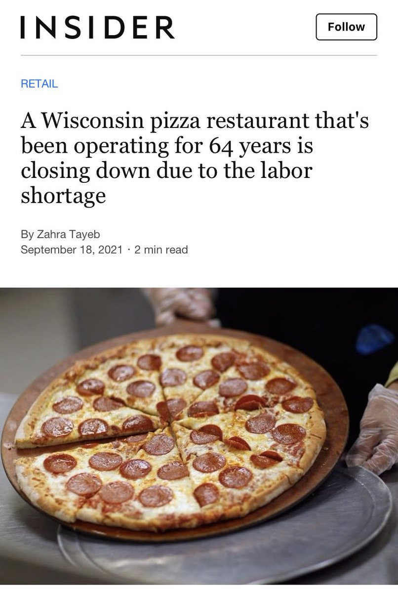 Are restaurants closing down because of labor shortages, or wage shortages?   People told workers to go get something better. They are.   Insider Story: bit.ly/3kjyXQt?fbclid…