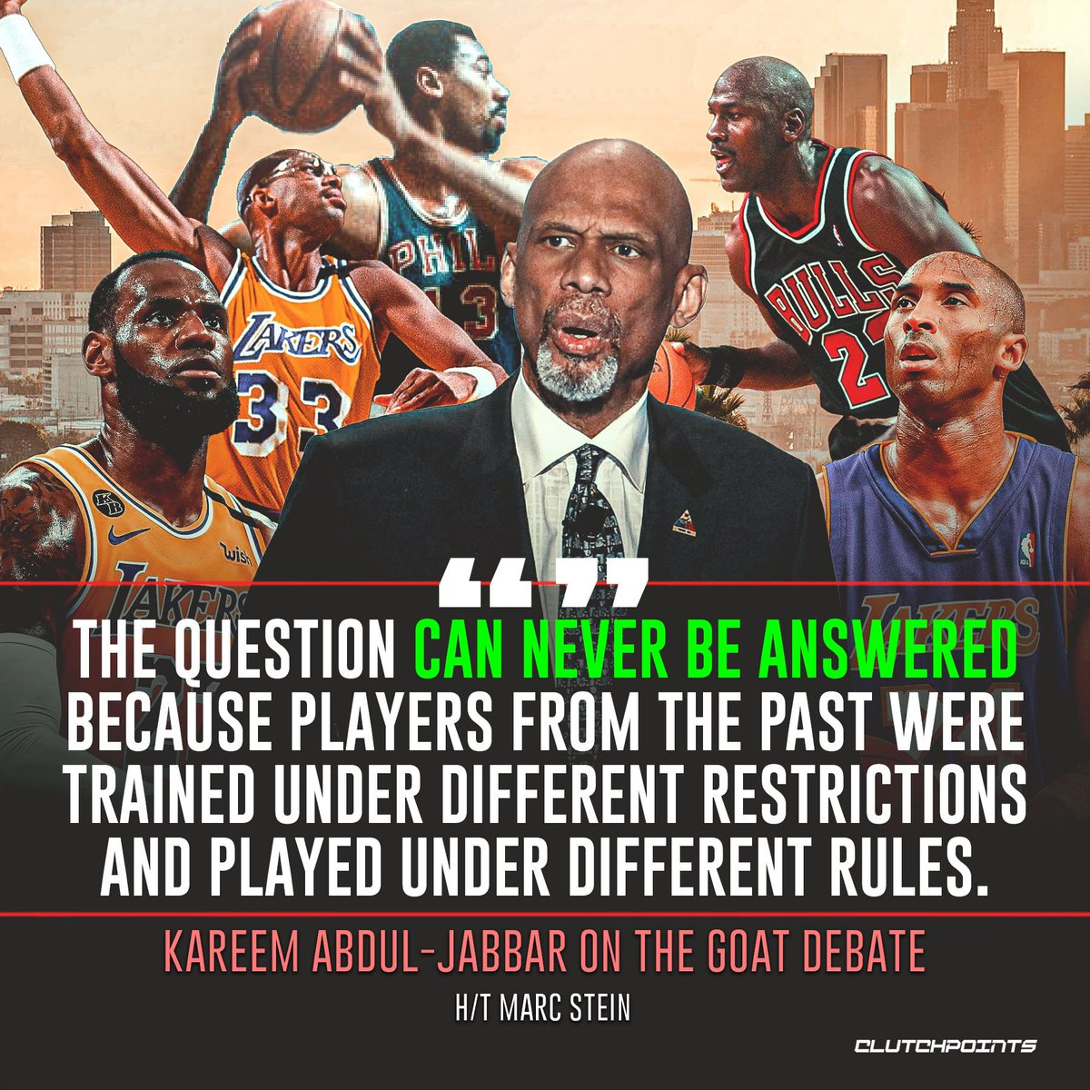 'The question can never be answered because players from the past were trained under different restrictions and played under different rules.' - @kaj33 to @TheSteinLine on the NBA GOAT debate. Does Kareem have a point? 🤔