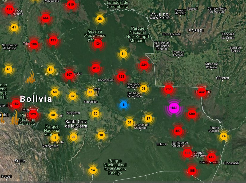I've been dealing with them long enough to know how to tell when the Santa Cruz departmental government's environmental people are in a panic about the forest fire situation... and guess what, folks? Tonight they're in a panic.  #SOSChiquitania #Bolivia #ForestFires