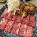 Image for the Tweet beginning: 敬老の日は両親と焼肉へ! #味の名門焼肉かねだ #牛タン #ロース #カルビ #ホルモン