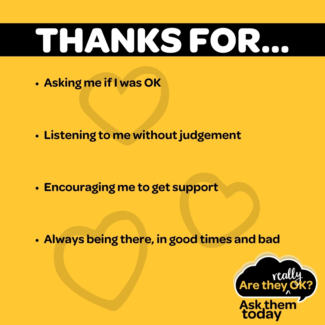 It's World Gratitude Day 💛 Today we say to thank you to those who asked R U OK?, leant a shoulder to cry on, an ear to listen with and walked alongside us on our journey to wellness. #ruok #ruokday