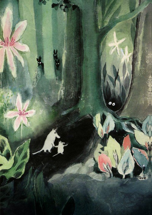 Cover artwork for the book 'The Moomins and the Great Flood' created by Finnish artist and author Tove Jansson in 1945 #WomensArt